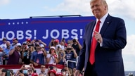 President Donald Trump arrives to speak at a campaign rally at Wittman Airport, Monday, Aug. 17, 2020, in Oshkosh, Wis. (AP…