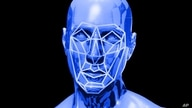 Human face with facial recognition lines, drawing, graphic element on black