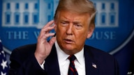 President Donald Trump speaks during a briefing with reporters in the James Brady Press Briefing Room of the White House,…