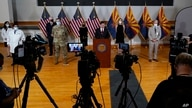 Arizona Gov. Doug Ducey speaks during a news conference regarding the latest information on the coronavirus and upcoming flu…