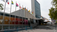 Metal barricades line the the shuttered main entrance to the United Nations headquarters, Friday, Sept. 18, 2020, in New York. …