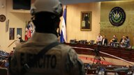 Armed Special Forces soldiers of the Salvadoran Army, following orders of President Nayib Bukele, enter congress upon the…