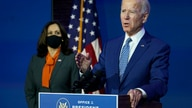 President-elect Joe Biden, joined by Vice President-elect Kamala Harris, speaks at The Queen theater, Monday, Nov. 9, 2020, in…