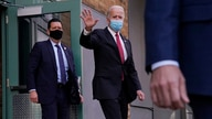 President-elect Joe Biden walks out of The Queen theater, Thursday, Nov. 19, 2020, in Wilmington, Del., after participating in…