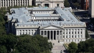 The U.S. Treasury Department building viewed from the Washington Monument, Wednesday, Sept. 18, 2019, in Washington. (AP Photo…