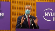 Mayor Bill de Blasio delivers remarks ahead of the first COVID-19 vaccinations at NYU-Langone Hospital on Monday, Dec. 14, 2020…