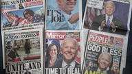 A selection of the British national newspapers on Sunday, Nov. 8, 2020, showing their front page reactions to President-elect…