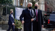 President Joe Biden departs after attending Mass at Holy Trinity Catholic Church, Sunday, Jan. 24, 2021, in the Georgetown…