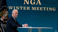 President Joe Biden speaks during a virtual meeting of the National Governors Association, in the South Court Auditorium on the…