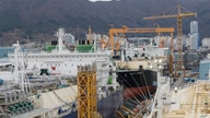 In this Friday, Dec. 7, 2018 photo, large-sized liquefied natural gas (LNG) carriers are being constructed at the Daewoo…