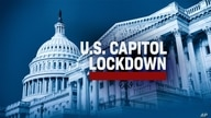 US Capitol Building on texture with US CAPITOL LOCKDOWN lettering, finished graphic