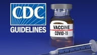 US CDC logo with GUIDELINES lettering over syringe and glass vial with VACCINE COVID-19 lettering on label, drawing, finished…