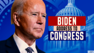 Joe Biden headshot, as US President, over Presidential Seal and US Capitol dome with ADDRESS TO CONGRESS lettering, finished…