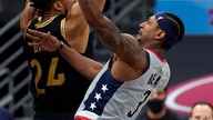 Washington Wizards guard Bradley Beal (3) goes for a layup after getting around Toronto Raptors center Khem Birch (24) during…