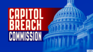 US CAPITOL BREACH COMMISSION lettering over US Capitol dome, finished graphic