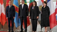 From left, German Foreign Minister Heiko Maas, Libyan Prime Minister Abdul Hamid Dbeibah, Libyan Foreign Minister Najla…