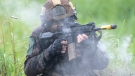 A French army soldier take part in a joint military drill between Japan Self-Defense Force, French army and U.S. Marines, at…