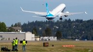 The final version of the 737 MAX, the MAX 10, takes off from Renton Airport in Renton, WA on its first flight Friday, June 18,…