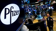 FILE PHOTO: A logo for Pfizer is displayed on a monitor on the floor at the NYSE in New York