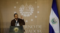 El Salvador President Nayib Bukele speaks during a promotion ceremony from policemen to corporals in San Salvador