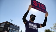 Rally held by fast food workers and supporters to celebrate the California Labor Commissioner's order in Los Angeles