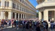 People walkduring protests against and in support of the government, in Havana