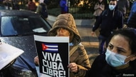 Demonstrators take part in a protest against the Cuban government outside the Cuban Embassy, in Buenos Aires, Argentina