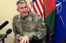 Gen. John Nicholson,  the top American commander in Afghanistan, speaks to reporters Wednesday, March 14, 2018 at Bagram air base north of Kabul, Afghanistan.  Nicholson spoke about prospects for peace talks with the Taliban. (AP Photos/Robert Burns)