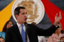 Venezuela's opposition leader Juan Guaido, who many nations have recognized as the country's rightful interim ruler, gestures…