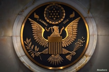 The Great Seal of the United States is pictured on a wall in courtroom 9C during a special session of the United States…