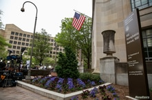 A general view of the Department of Justice building is seen ahead of the release of the Special Counsel Robert Mueller's…