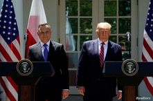 FILE PHOTO: U.S. President Donald Trump and Poland's President Andrzej Duda attend a joint news conference in Washington, U.S.,…