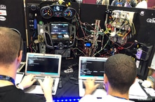 Attendees of the 2019 DEF CON cybersecurity event are seen at the conference's car hacking village in Las Vegas, Nevada, U.S.,…