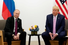 FILE PHOTO: U.S. President Donald Trump meets with Russian President Vladimir Putin at the G20 leaders summit in Osaka, Japan…