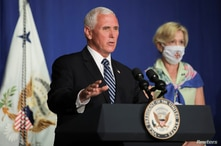 U.S. Vice President Mike Pence leads a White House coronavirus disease (COVID-19) task force briefing with Dr. Deborah Birx,…