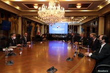 U.S. National Security Advisor Robert O'Brien and Panama's President Laurentino Cortizo attend a private meeting at the…