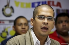 Member of the political party Marea Socialista (Socialist Tide), Nicmer Evans, speaks during a news conference in Caracas,…