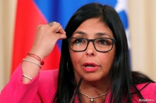 Venezuela's Vice President Delcy Rodriguez attends a joint news conference with Russian Foreign Minister Sergei Lavrov (not…