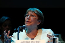 UN High Commissioner for Human Rights Michelle Bachelet holds a news conference at Centro Cultural Espana in downtown Mexico…