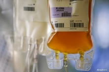 A convalescent plasma bag from a recovered coronavirus patient is seen at the Central Seattle Donor Center of Bloodworks…