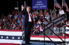 U.S. President Donald Trump concludes a campaign rally at Smith Reynolds Regional Airport in Winston-Salem, North Carolina, U.S…