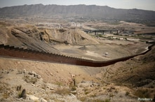 """A border wall section allegedly built with money from Trump supporters who donated in the crowdfunding campaign called """"We…"""