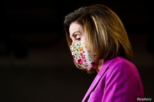 U.S. House Speaker Nancy Pelosi (D-CA) speaks to reporters a day after supporters of U.S. President Donald Trump occupied the…