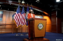 U.S. House Speaker Nancy Pelosi (D-CA) attends her weekly news conference at the U.S. Capitol in in Washington, U.S., January…