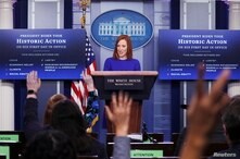 White House Press Secretary Jen Psaki takes questions from journalists in the James S Brady Press Briefing Room at the White…
