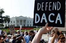 Demonstrators protest in front of the White House after the Trump administration scrapped the Deferred Action for Childhood Arrivals (DACA), Sept. 5, 2017