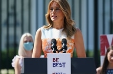FILE - First lady Melania Trump speaks at an event celebrating the 100th anniversary of the 19th amendment which afforded the vote to women, at the White House, Aug. 24, 2020,