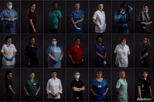 A combination picture shows East Lancashire NHS Trust healthcare workers posing for a portrait ahead of International Women's…
