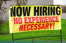 A roadside banner beckons potential employees outside Channel Control Merchants LLC, an extreme value retailer and exporter of…