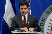FILE PHOTO: U.S. President Joe Biden's special envoy for the Northern Triangle Ricardo Zuniga addresses a news conference in…